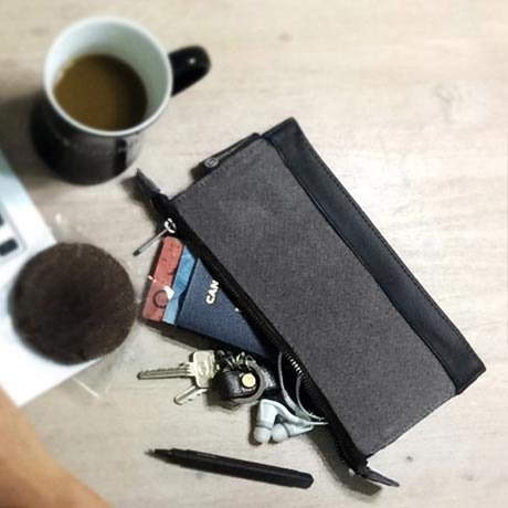Waxed Canvas Leather Travel Pouch - Grey