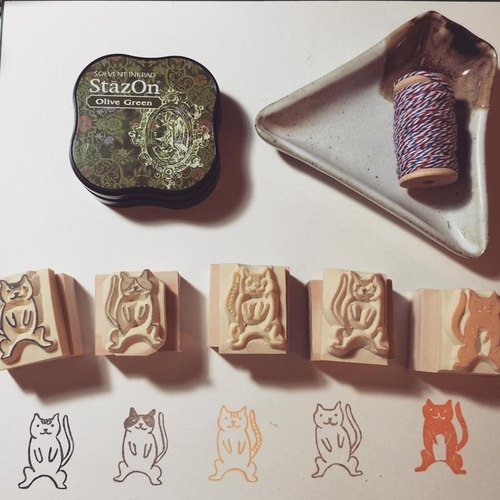 Cat eraser stamp*handmade*rubber stamp*handmade stamp*hand carved