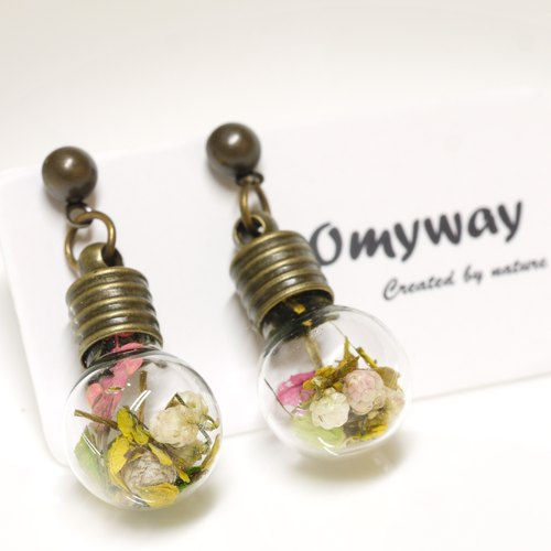 """Love home for -OMYWAY"" small mill DIY handmade dried flowers Yahua Regardless of canola flower rice flower bulb glass ball earrings earrings"