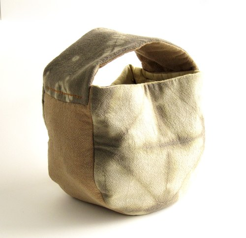 Half circle bag - Handmade Natural Fabric Tide & Dye - Mango leaves - Handbag.