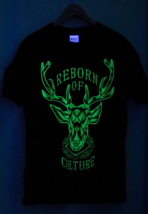 [Rebirth Of Culture] deer rebirth Glow Tshirt short-sleeved shirt DeerHead Tee Noctilucent Black [black] Taiwan hand-printed design brand MIT