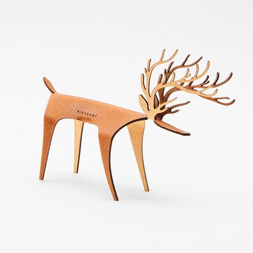 PLEASANT|Deer Card Classic - Tan- Cow leather greeting card, deer sculpture furnishings