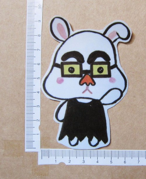 Hand painted illustrator style full waterproof sticker Halloween little white rabbit laughing face carnival park tour