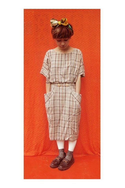 Double-sided large pockets plaid dress retro vivtage - dislocation vintage -