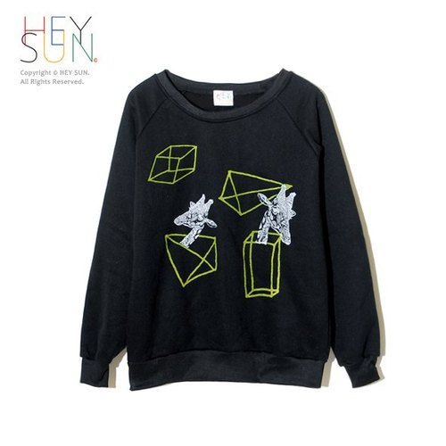 [M0294] HEY SUN independent ‧ thick hand as brand skin-pound GIRAFFE CUBE elbow patch shirt - Black / last one, sold out of print