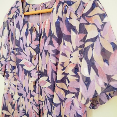 Purple leaves short-sleeved dress