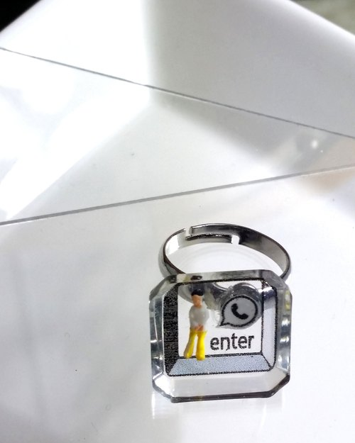 """Enter"" button ring - ""enter"" key ring"