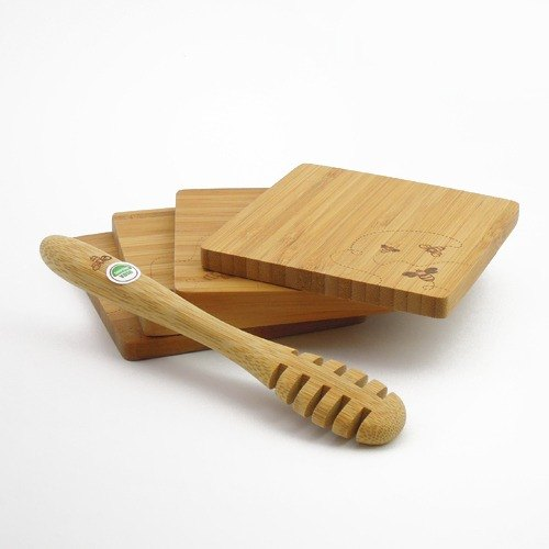 Bambu │ organic honey spoon coasters group