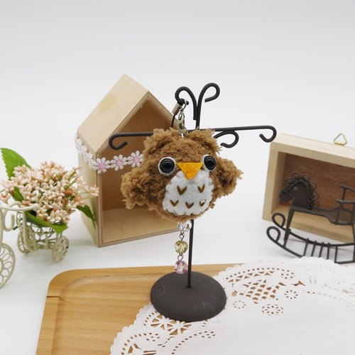 Knitting soft phone strap can be changed key ring strap - light-colored Owl