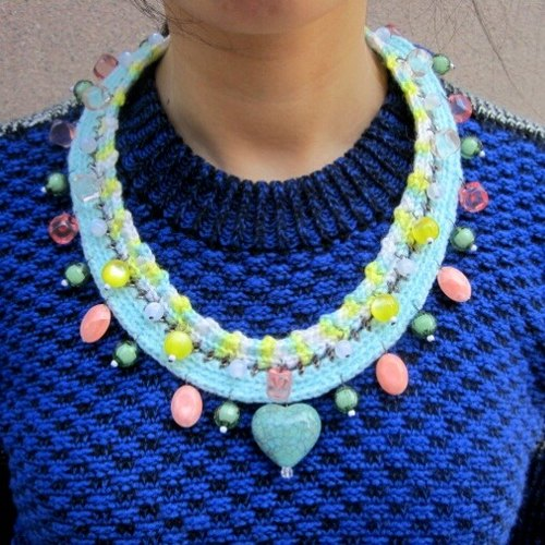 [Crochet series] * love * Wool Crochet Necklace Limited Hand