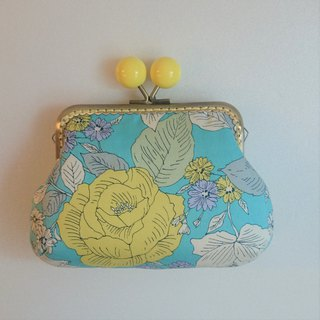Gold bag / storage bag / elegant flower / blue yellow flowers
