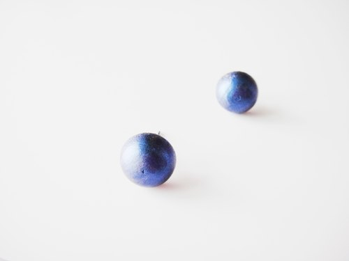 Wooden midnight blue earring-7