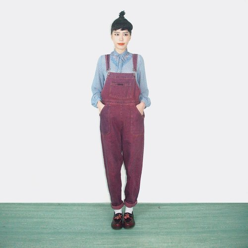 Purple vintage denim suspenders trousers AK9018