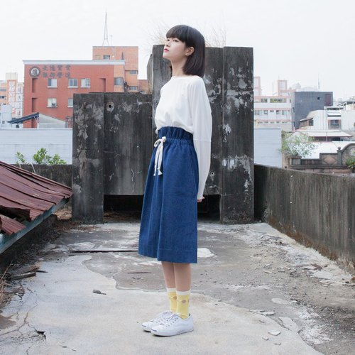 SUMI Lotus lotus leaf denim blue knee skirt _3AF100_