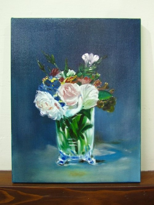 Hand-painted crystal bottle inside painting flowers Flowers in a Crystal Vase