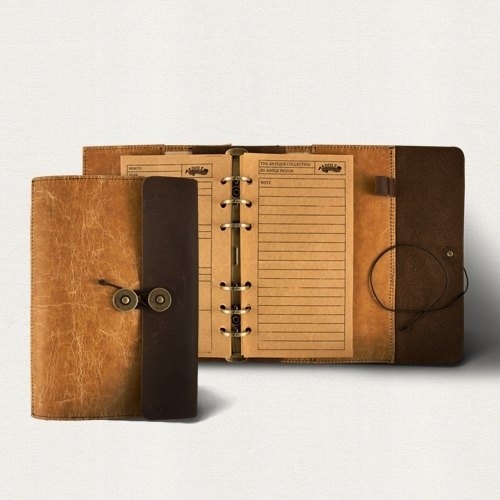 ADOLE │ wax pattern cloth -A6 tin antique leather notebook
