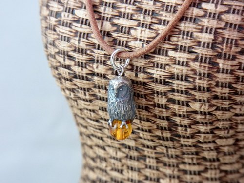 Owl pendant Amber with Leather cord necklace.