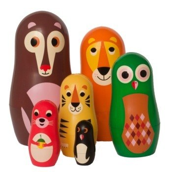 Swedish OMM X Ingela mini Russian dolls - A group of zoo
