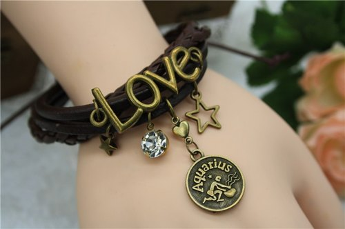 Vintage Crystal Constellation Horoscope charm crystal bracelet leather bracelet