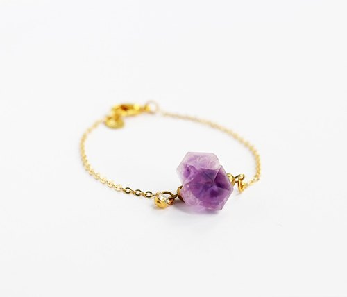 Violet original stone 16K gold plated bracelet hand-made knock-off series of natural stone brass letters Hands .Fitter