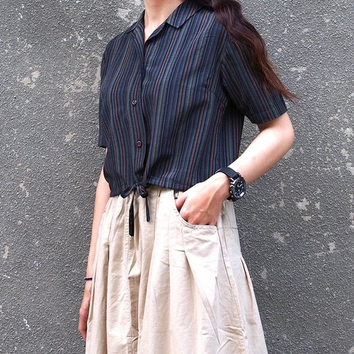Calf Calf Village village vintage striped short-sleeved shirt short-rational elegance {}