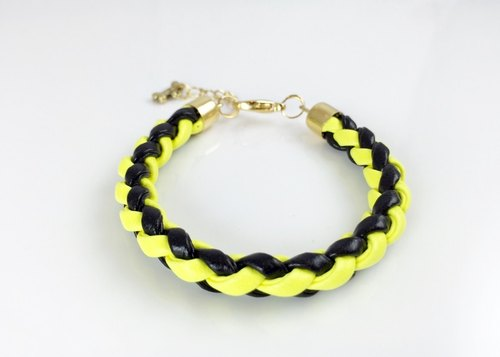 [Fluorescent Yellow x x black leather cord]