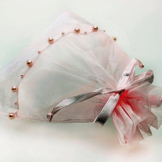 Organza Beaded Bag Drawstring Pouch Handmade Pink Color - 3 Pieces Set