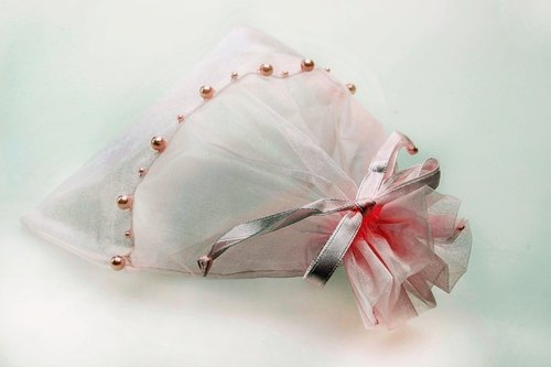HANDMADE ORGANZA BEADED BAG PINK COLOR