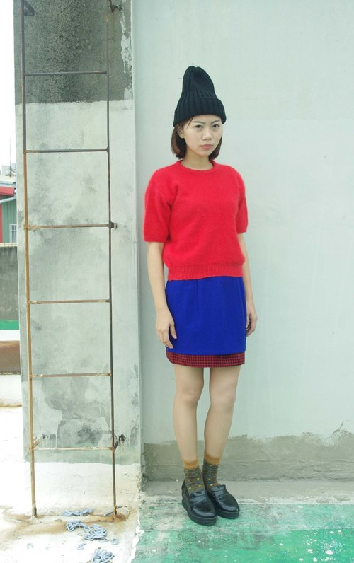 4.5studio- independent hand do - [R;] Restyle transformation series - sapphire blue color stitching wool miniskirt hem