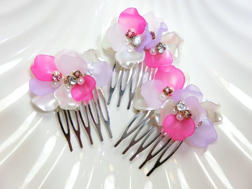 Wear mind ornaments - flower gesture S series comb -3 member group 1 (powder)
