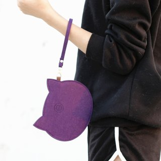 Wool felt cat carry bag / wrist strap attached - Witch Purple Cat