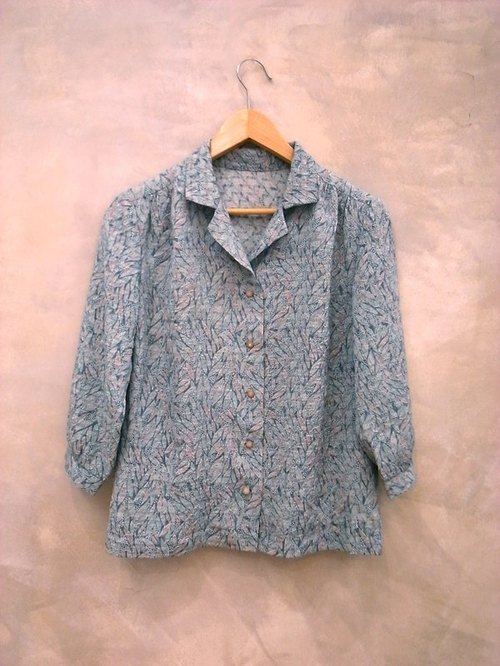Powderblue Japanese Ye Zibo point perspective weave shirt vintage