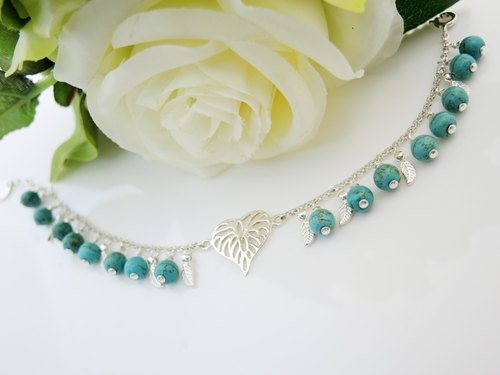 """MUSIC FROM NATURE natural sound"" elegant turquoise hear the sound of 925 sterling silver bracelets"