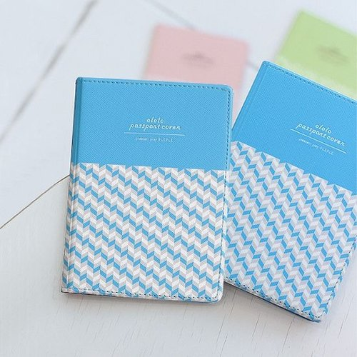 Dessin x PlePle-OLOLO micro spring breath Passport Cover - geometric blue, PLE32914