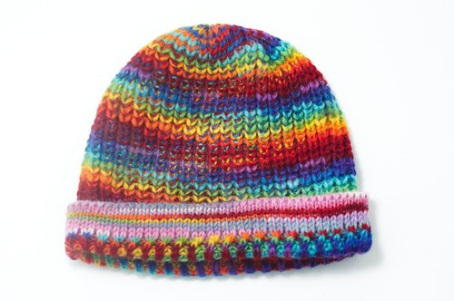 Christmas gifts hand-woven pure wool hat / knitted caps / hand-woven caps (made in nepal) - rainbow hues blending stripes