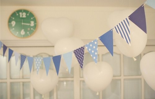 South Korea] [Afrocat paper party flag <Sky Blue> Party flag decoration diy birthday celebration