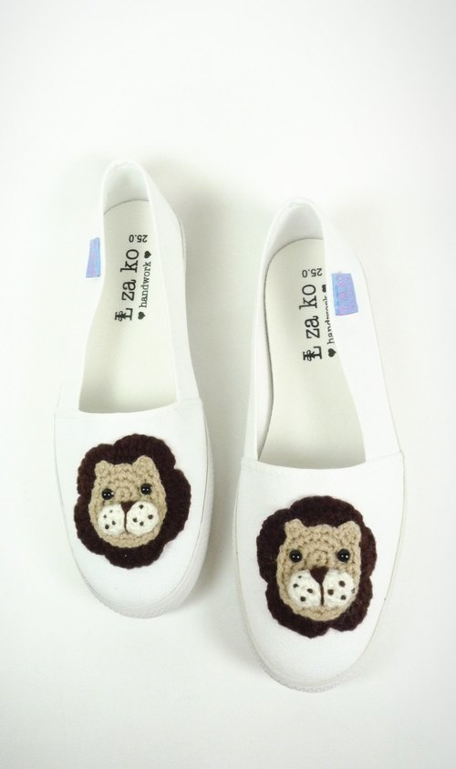 White cotton canvas hand shoes green fairy lion section (no knitting section)