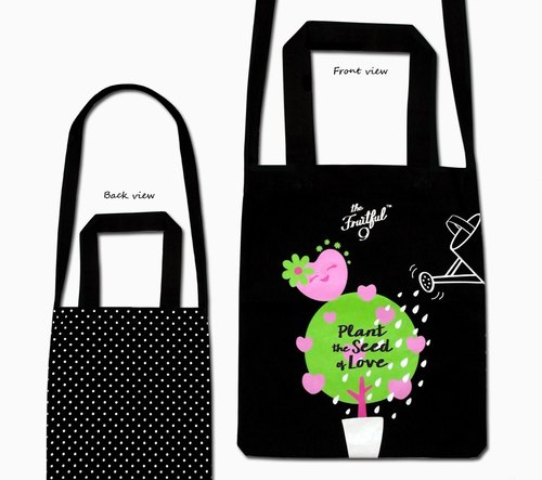 the Fruitful 9 nine fruit black shoulder bag / oblique backpack Tote Bag