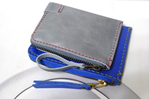 Mini version - fall flower pony bill purse - gray-blue (red line)