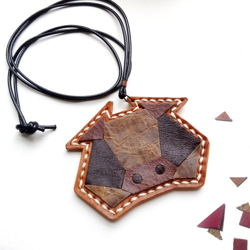 "Genki ◣ ◢ small leather animal collage handmade leather necklace ""Halo! Pig."""