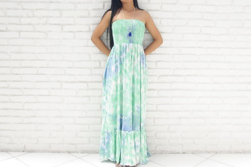 Uneven dyed Strapless Dress <Green Blue>