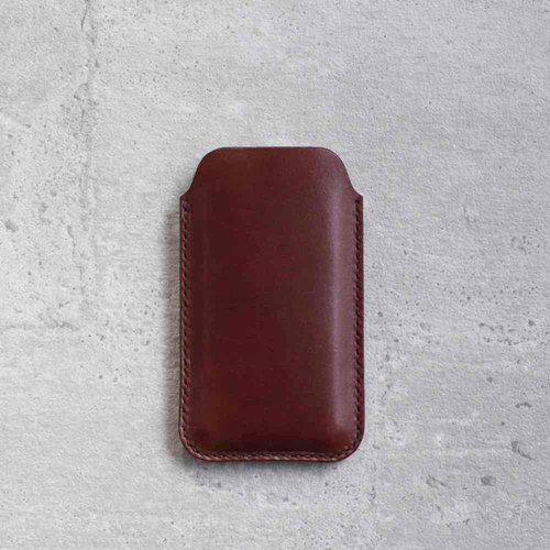 Dark Brown iPhone 7 natural genuine leather sleeve pouch case