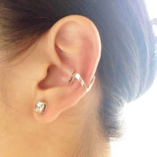 Ear cuff/Midi ring : Silver 950 jigzag design