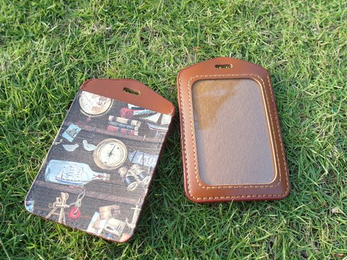 Handmade leather leather leather ─ bottle boat ticket folder / document sets / badge
