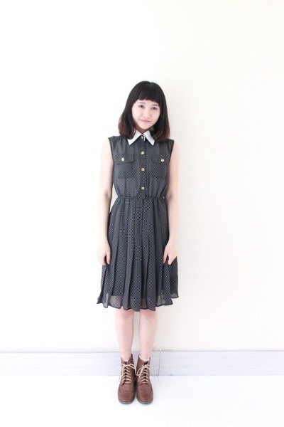 [RE0423D233] Nippon Slim black Shuiyu little elegant vintage sleeveless dress