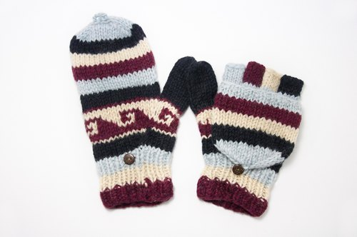 Christmas gifts Limited a hand-woven pure wool knit gloves / detachable gloves / bristles gloves (made in nepal) - Eastern European national wind