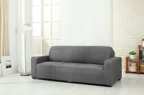 [HousePal] Wales Wales Plaid stretch suede sofa sets - three-seat (iron gray)