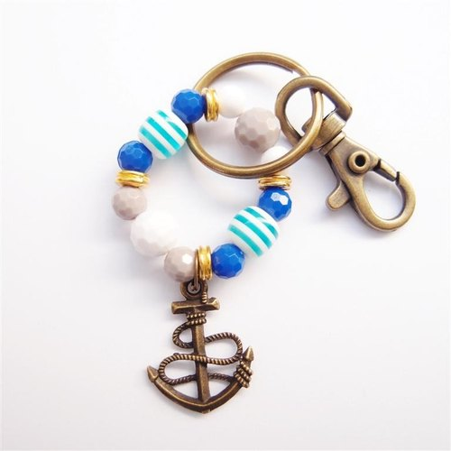 Anchors beaded key ring