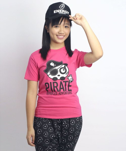 "Doodles original neutral Q version of ""pirate cat state"" boom-type, simple pink T-shirt"