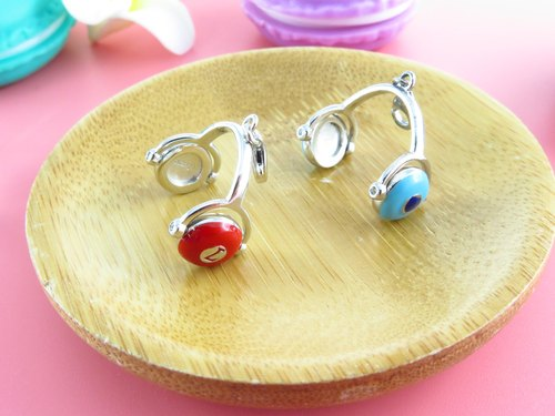 Headphone Charm 925 Silver Swarovki crystal Epoxy Blue/Red MN10P